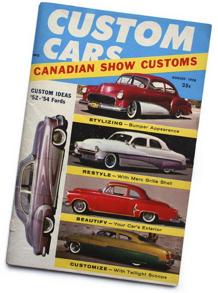 På forsiden af Custom Cars i 1958
